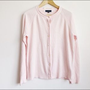 soft pastel pink cardigan with pearly buttons